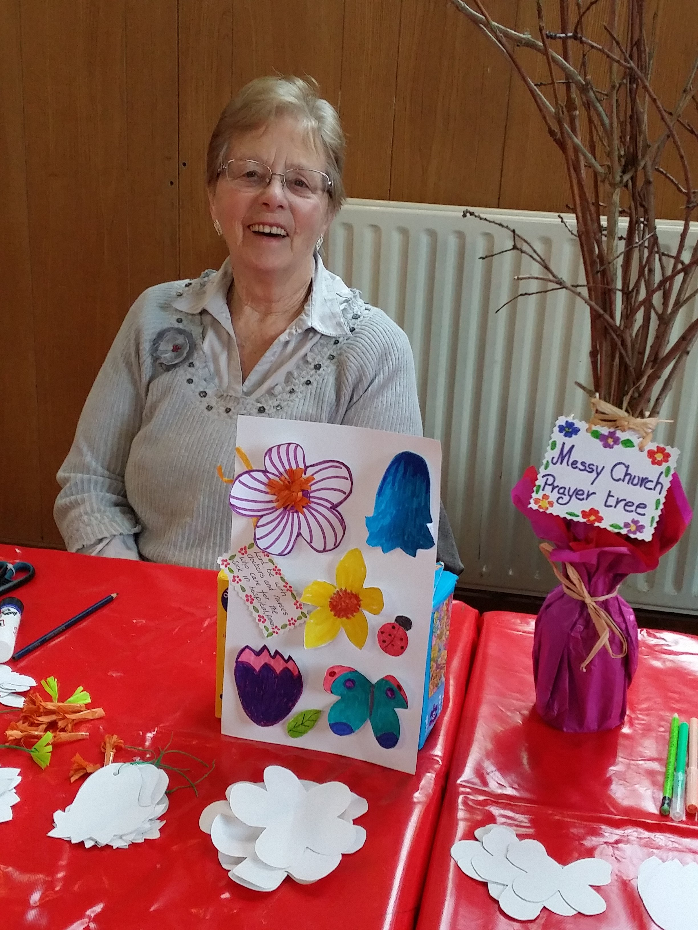 2017-03-10 Hilda helping with the prayer tree at Messy Church