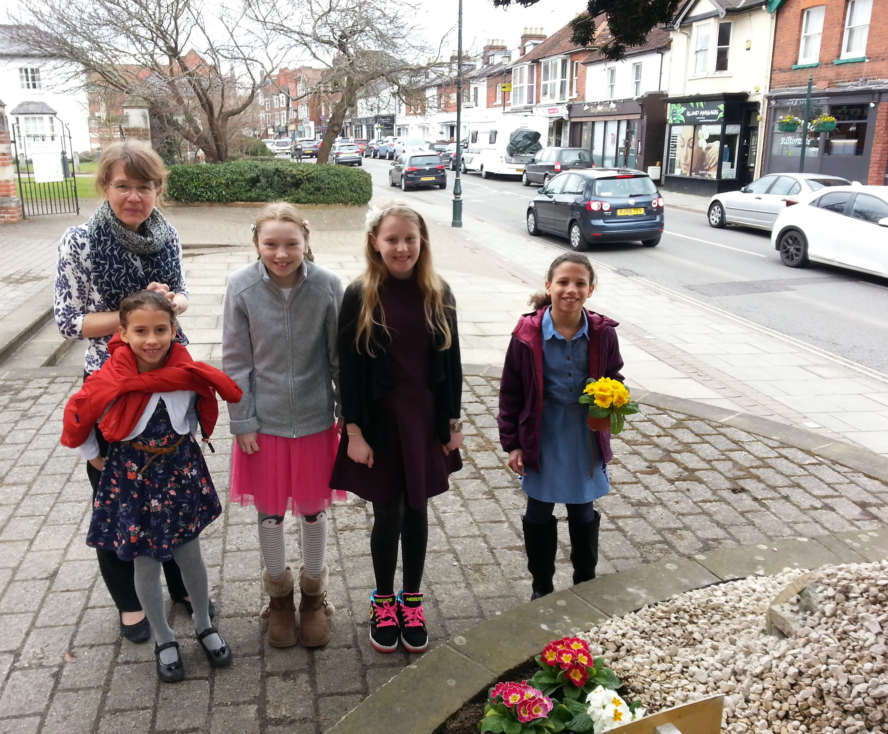 The girls are ready to make the Easter Resurrection Garden